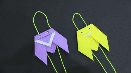 简单好玩的爬行知了折纸,放在绳子上会自己往前爬,孩子很喜欢玩