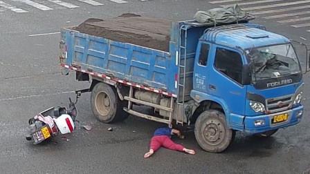 惨烈!江西一女骑手与大货车相撞,拦腰被碾压当场身亡