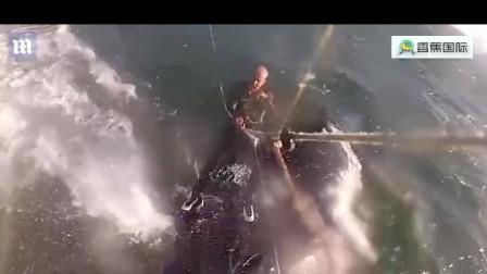 男子水上滑翔时偶遇巨大鲸鱼 近在咫尺险些撞上