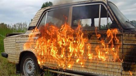 把500000根火柴绑汽车上,能点燃汽车?结果太震撼了