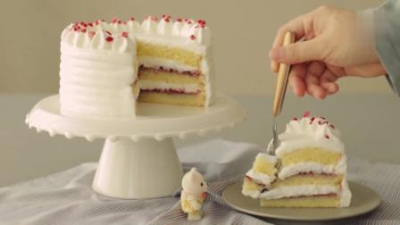 空气炸锅 奶油蛋糕 香甜软糯 内置丰富果酱 草莓干点缀