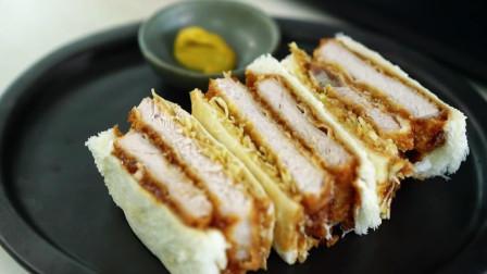 鸡排三明治,酥香脆的鸡排裹上一层层包菜酱料土司,咬一口满足了