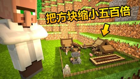 我的世界:把方块缩小五百倍,迷你方块模组,建造最小房子!能住人吗?