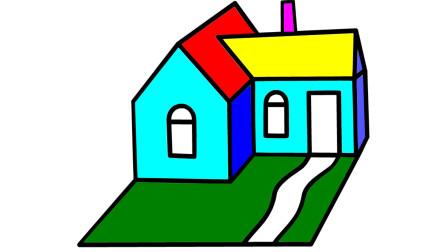 如何简笔画大房子 然后涂上彩色