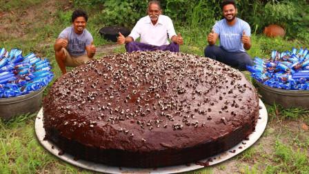 印度爷爷用奥利奥,自制巨型巧克力蛋糕,一帮孩子馋哭了