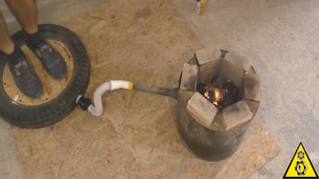 废旧轮胎不要扔,俄罗斯小伙把它改成脚踩式鼓风机,脑洞大开了