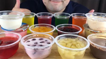 十几种不同口味的果冻布丁,大叔每个都试吃一遍,哪一款最好吃呢