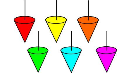 如何简笔画锥形陀螺 然后涂上彩色