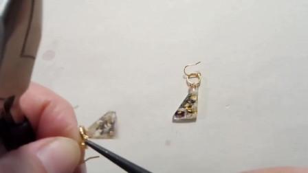 滴胶做一个三角耳环,唯美的外形给我一种如沐春风的感觉