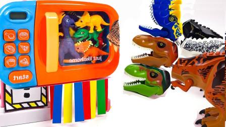 组装霸王恐龙兄弟 排队等待进入魔法变身箱