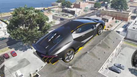 GTA5 四辆跑车斜坡加速,其中一辆飞跃20米高的房子