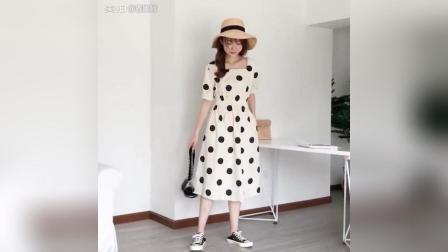 夏日穿搭复古波点裙