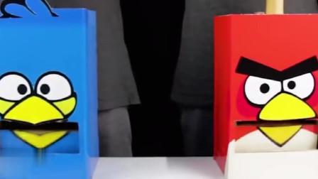 """老外脑洞系列:用纸板制作""""饮料贩卖机"""",贴上愤怒的小鸟图片,造型太可爱啦"""