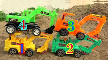 四种颜色挖掘机 沙滩施工作业