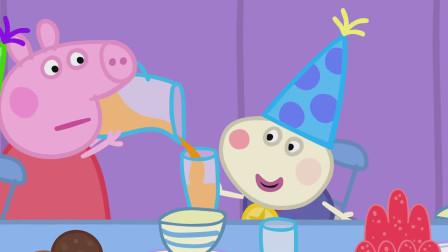 佩奇为小兔理查德斟了一杯美味的果汁