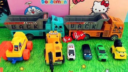 拆开神秘盒子 里面有各色各样的玩具小车