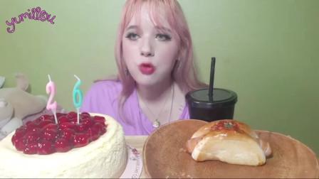 法国吃播切丽·切斯·凯奇卡樱桃奶酪蛋糕和糕点