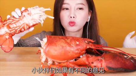 韩国吃播:4公斤大龙虾+寿司+乌冬面+米饭+猪排,沾着酱料,吃的真馋人