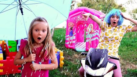 太糟糕了!萌宝小萝莉出去玩咋遇上了暴风雨?她能成功躲过吗?