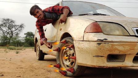 印度小伙真牛,鞭炮绑轮胎上行驶,看到结局:印度制造真好