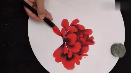 国画:教你画一幅大红牡丹,简单明了,易学易懂!