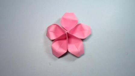 手工折纸,桃花的折法,好漂亮的花朵,步骤超简单