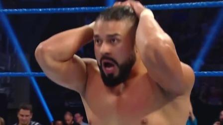WWE SmackDown 2019 阿玛斯双膝飞撞克鲁斯压制两秒,克鲁斯偷袭反制双肩压地三秒战胜对手