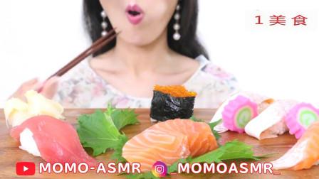 吃鱼籽寿司三文鱼寿司,对于爱吃寿司的人来说太令人羡慕啦