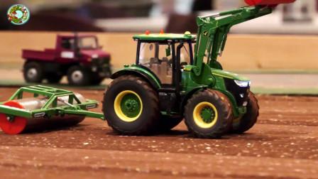 小型农场玩具,拖拉机旋耕机玩具,农业机械玩具