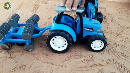 四轮拖拉机玩具拉货物和动物玩具