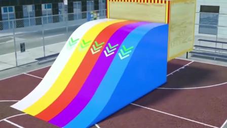 儿童汽车动画:消防车、垃圾车、环保车开到燃料池中变颜色