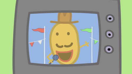 电视机的屏幕上出现了正在进行现场主持的土豆先生