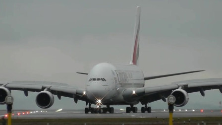 航空:A380大反冲横风着陆,正面视角拍摄,很震撼呢!
