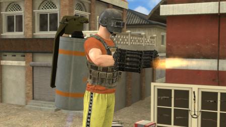 吃鸡动画:手枪跟烟雾弹组成的新武器,一开枪就感觉不简单