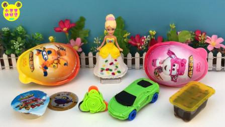 小豆豆玩具美太芭比公主玩具 超级飞侠和哆啦A梦奇趣蛋分享!跟美泰芭比拆玩具蛋