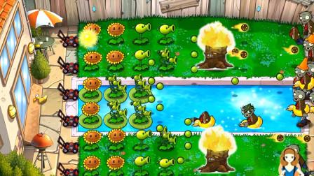 28 植物大战僵尸游戏 第3-8关 火炬树桩使豌豆射手火力加倍