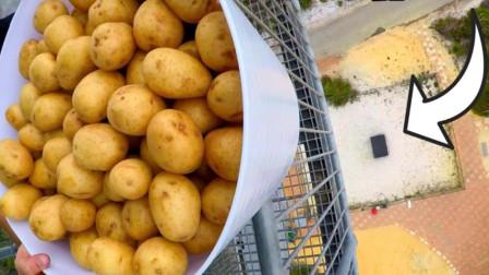 45米高扔下的200个土豆,老外还想在下面接住,网友:头铁?