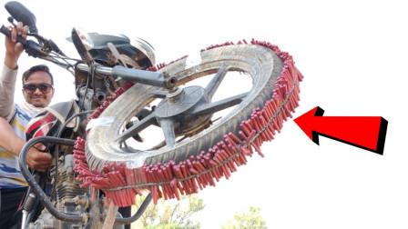 老外将500根鞭炮粘在轮胎上,只听一阵惨叫,意外发生了!