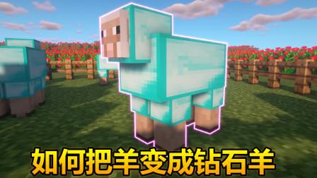 我的世界:教你怎么把羊变成钻石羊,瞬间富有!