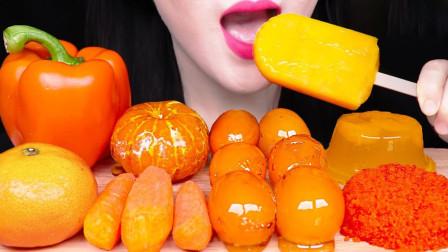橙红色美食充满诱惑,看着就很有食欲,美女一次吃过瘾!