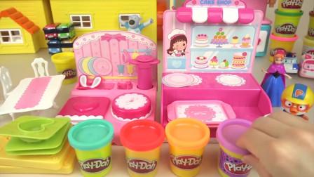 小企鹅啵乐乐的趣味橡皮泥玩具,一起来做一个美味的心形蛋糕吧