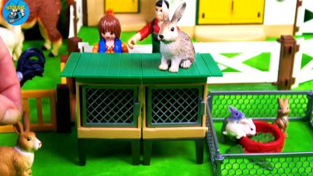 多种动物玩具,儿童小农场,小灰兔花牛大白猪鸭子鹅,儿童玩具车亲子互动,悠悠玩具城