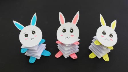 折纸做的弹跳兔子,点一下摇晃个不停,玩具都不用买了
