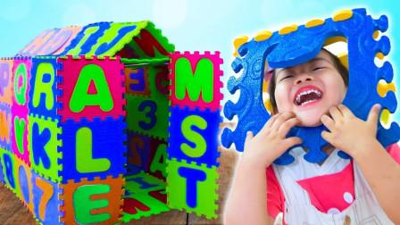 好期待!萌宝小萝莉用积木搭建的玩具屋是什么样呢?趣味玩具故事