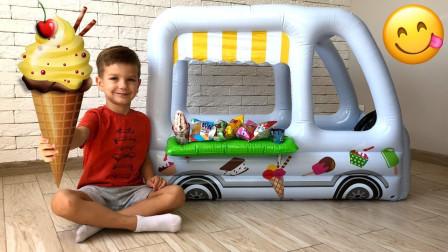 真棒!萌宝小正太用魔法棒变出冰淇淋车车?趣味玩具故事