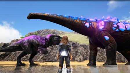 方舟生存进化:VS系列永恒南巨挑战永恒泰坦龙,燃烧姐姐选了南巨