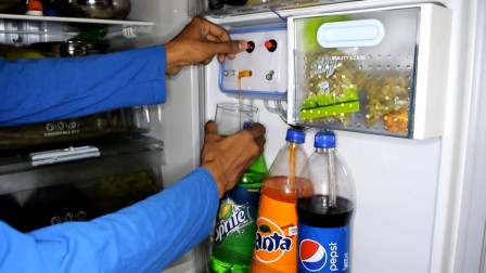 小哥自制饮料抽取机,想喝那个按那个,20元就能造一台