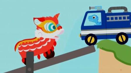 恐龙碰碰车汽车总动员赛车与儿童汽车游戏恐龙车对对碰借力用力战术很奏效陌上千雨解说