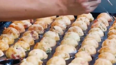 日本街头的章鱼烧,看制作过程都是种享受,太诱人了