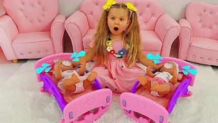 小萝莉照顾双胞胎宝宝,总有捣蛋鬼让宝宝哭起来